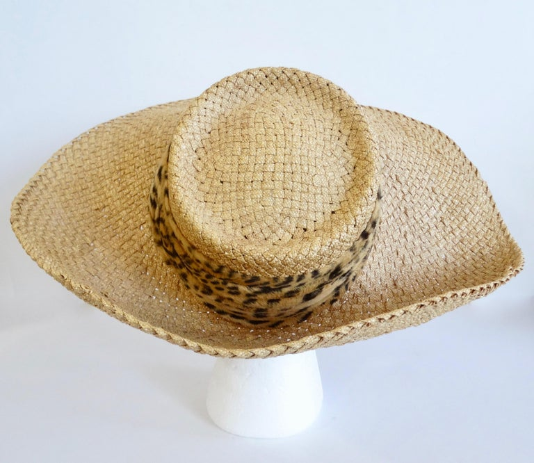 Women's or Men's 1980s Whittall & Shon Asymmetrical Wide Brim Straw Hat For Sale
