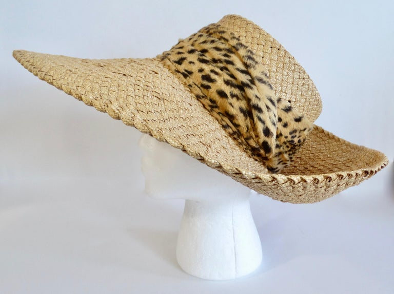 1980s Whittall & Shon Asymmetrical Wide Brim Straw Hat For Sale 1
