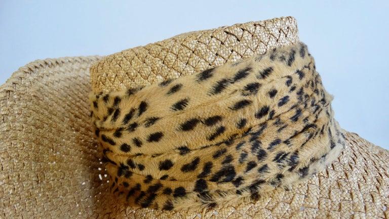 1980s Whittall & Shon Asymmetrical Wide Brim Straw Hat For Sale 2