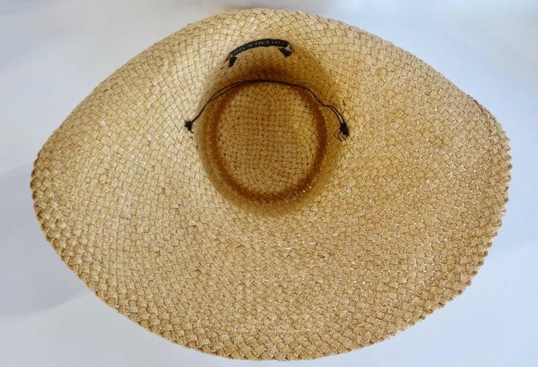 1980s Whittall & Shon Asymmetrical Wide Brim Straw Hat For Sale 3