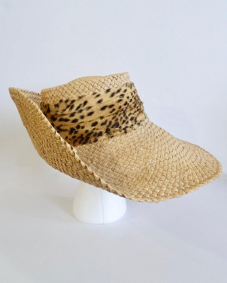 1980s Whittall & Shon Asymmetrical Wide Brim Straw Hat For Sale 4