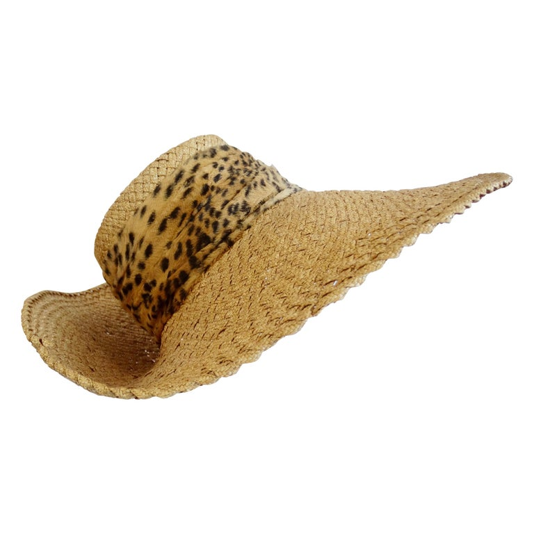 1980s Whittall & Shon Asymmetrical Wide Brim Straw Hat For Sale