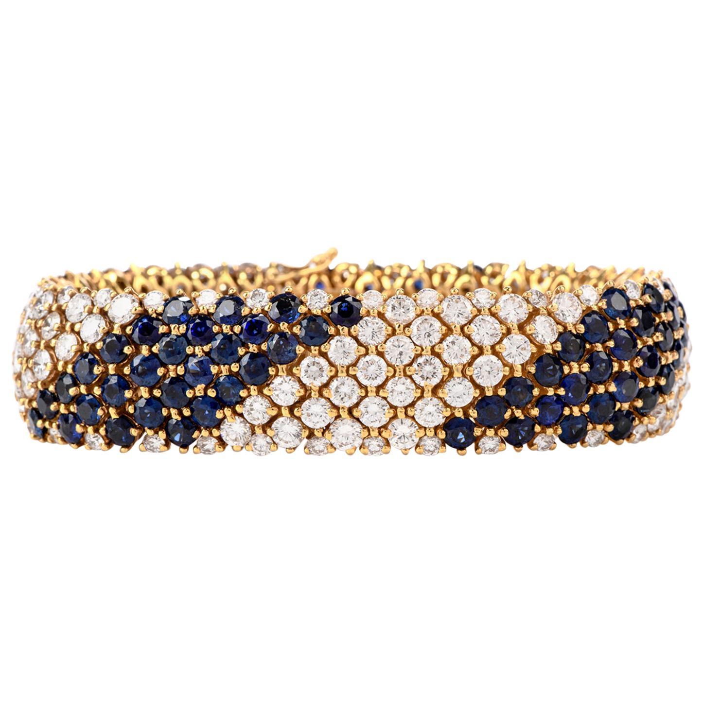 1980s Wide 36.28 Carat Diamond and Sapphire 18 Karat Bracelet