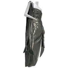 1980s William Travilla Strapless Corset-Bodice Gown in Silver Lame w/ Foulard