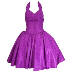 1980s Williwear Willi Smith Size 2/4 Purple Polka Dot Vintage 80s Taffeta Dress