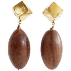 1980s Wooden Bead Drop Clip On Earrings