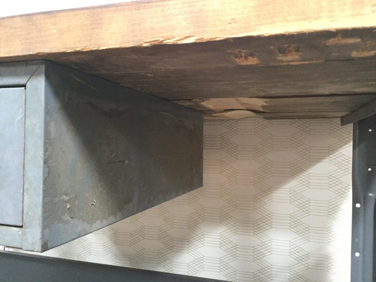 Metal Work Table with Drawer In Good Condition For Sale In Los Angeles, CA