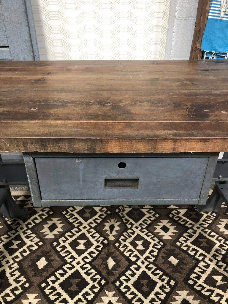 Metal Work Table with Drawer For Sale 2