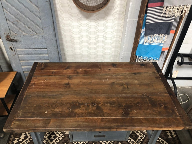 Metal Work Table with Drawer For Sale 3