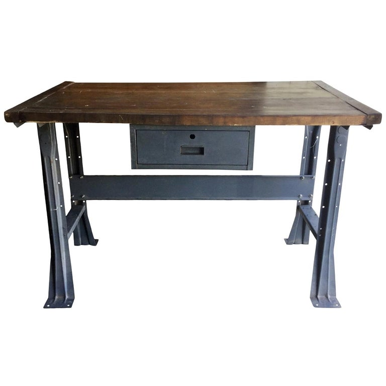 Metal Work Table with Drawer For Sale