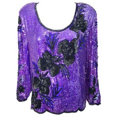 1980s XXL Purple Black Silk Chiffon Sequined Beaded Plus Size Vintage 80s Blouse