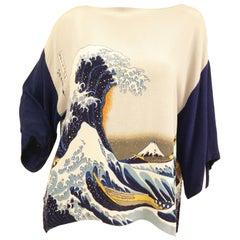 "1980s Yako Beverly Hills Tunic Featuring Hokusai's ""The Great Wave off Kanagawa"""