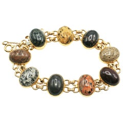1980s Yellow Gold and Cabochon Stone Link Bracelet