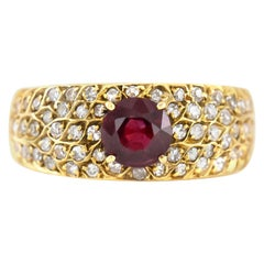 1980s Yellow Gold Diamonds with Center Ruby Ring