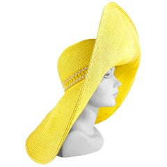 1980s Yellow Oversized Sunhat with Custom Hat Band