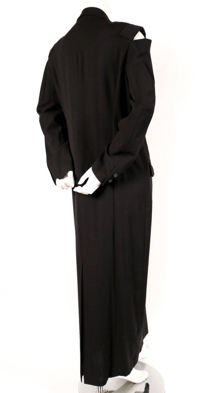 Black 1980's YOHJI YAMAMOTO black wool men's style dress with cutout shoulders For Sale