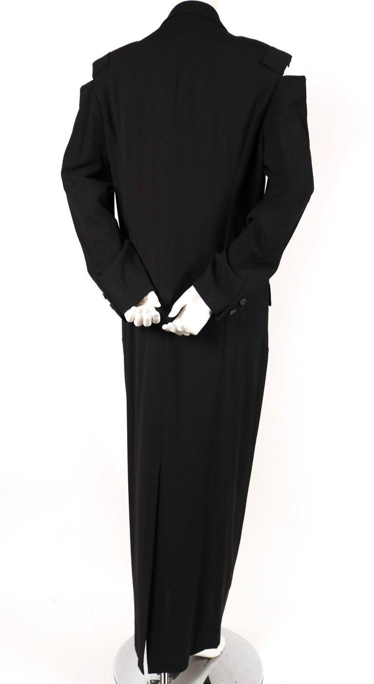 1980's YOHJI YAMAMOTO black wool men's style dress with cutout shoulders In Excellent Condition For Sale In San Fransisco, CA