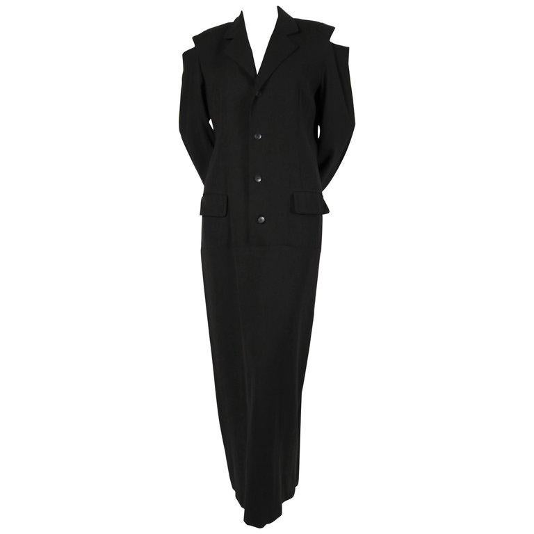 1980's YOHJI YAMAMOTO black wool men's style dress with cutout shoulders For Sale