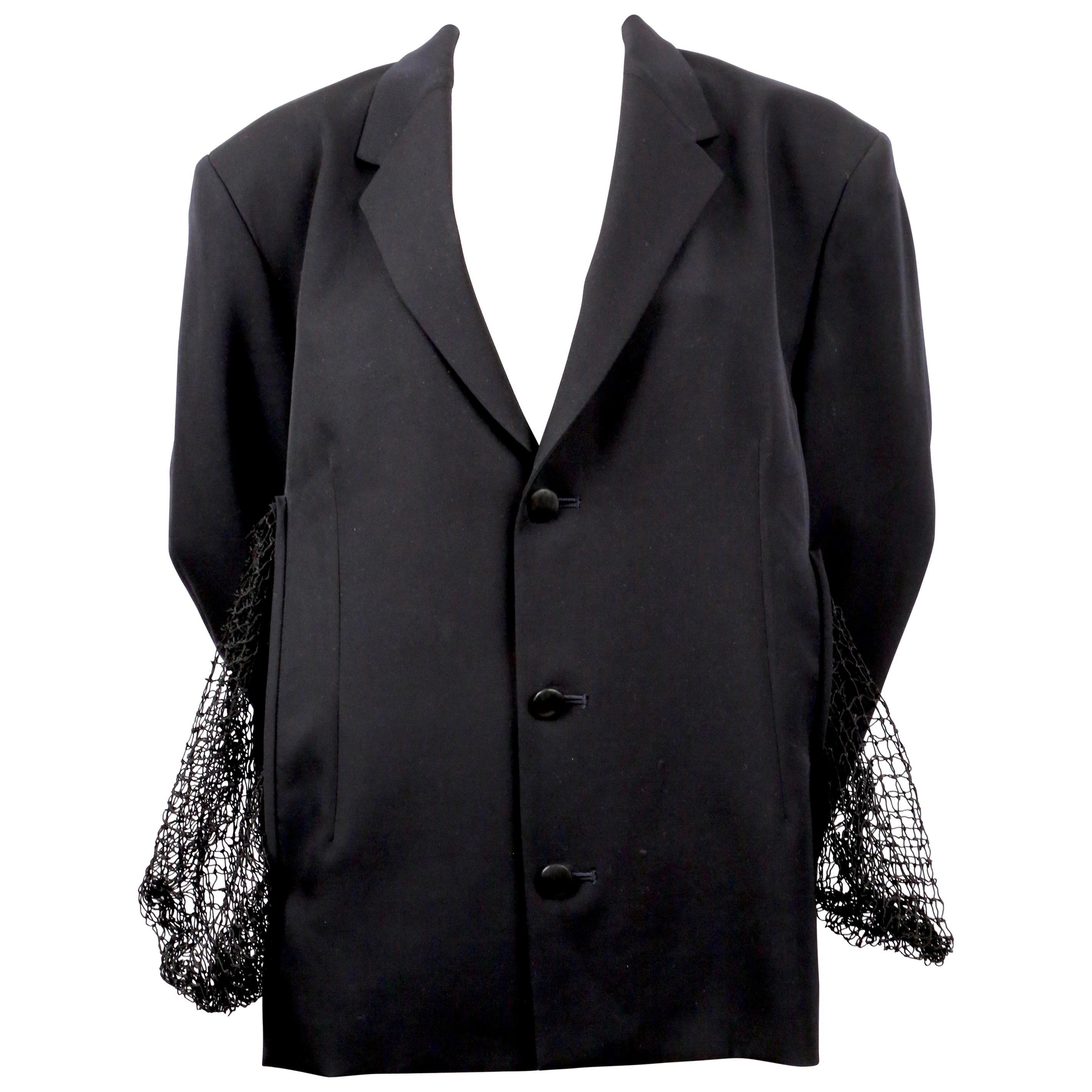 1980's YOHJI YAMAMOTO dark navy blue wool jacket with fishnet pockets