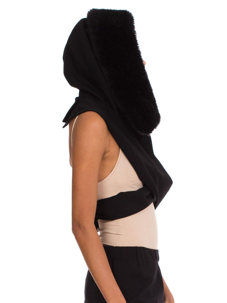 1980S Yohji Yamamoto Wool Black Hooded Scarf In Excellent Condition For Sale In New York, NY