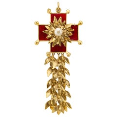 1980s YSL Rive Gauche Red and Gold Maltese Cross Pin/Pendant
