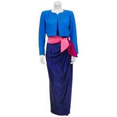 1980s YSL Rive Gauche Royal Blue Evening Ensemble with Hot Pink Obi Belt