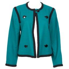 1980s YSL Yves Saint Laurent Emerald Green Iconic Jacket