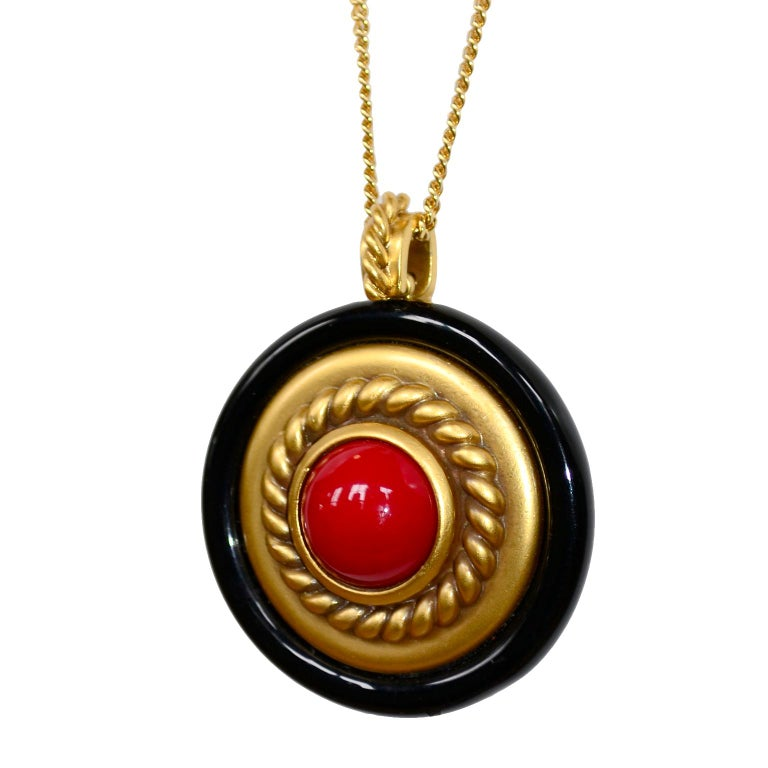 1980s YSL Yves Saint Laurent Vintage Red Stone Gold Necklace and Clip Earrings For Sale 7