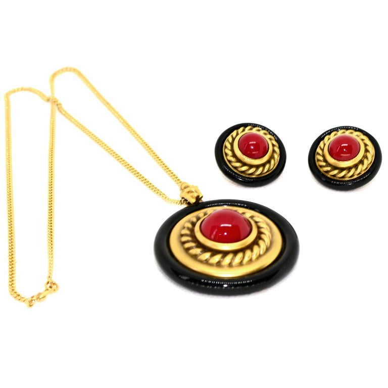 1980s YSL Yves Saint Laurent Vintage Red Stone Gold Necklace and Clip Earrings For Sale 2