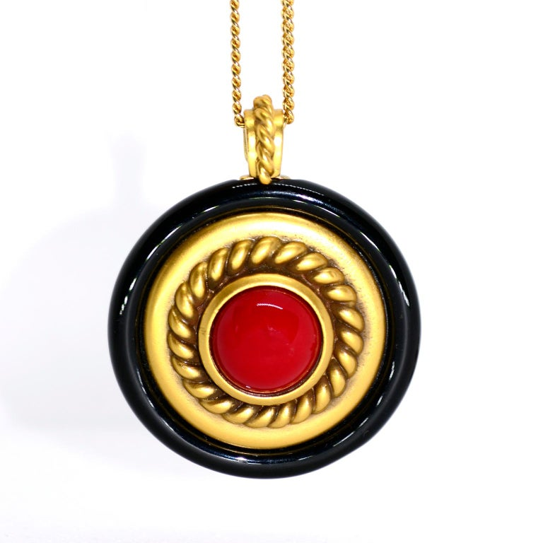 1980s YSL Yves Saint Laurent Vintage Red Stone Gold Necklace and Clip Earrings For Sale 5