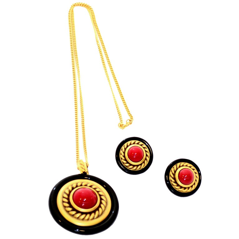 1980s YSL Yves Saint Laurent Vintage Red Stone Gold Necklace and Clip Earrings For Sale