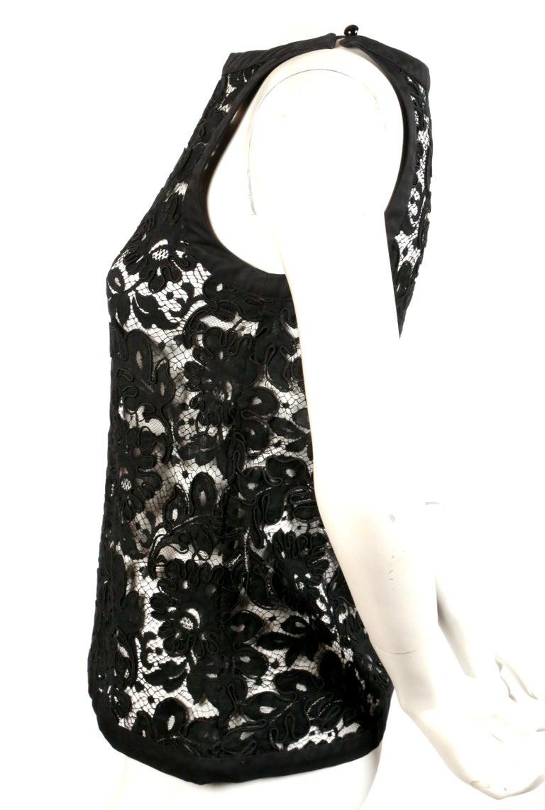 Women's or Men's 1980's YVES SAINT LAUERNT black lace top For Sale