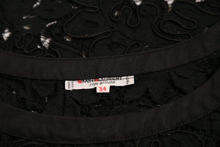 1980's YVES SAINT LAUERNT black lace top For Sale 2