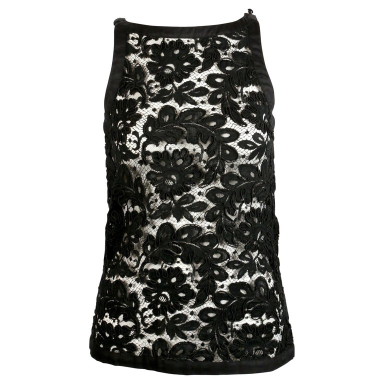 1980's YVES SAINT LAUERNT black lace top For Sale