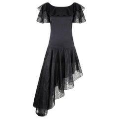 1980s Yves Saint Laurent Black Asymetric Dress With Flaminco Style Trim