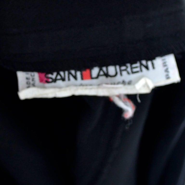 1980s Yves Saint Laurent Black Cotton 2 pc Dress w White Ruffled Collar For Sale 1