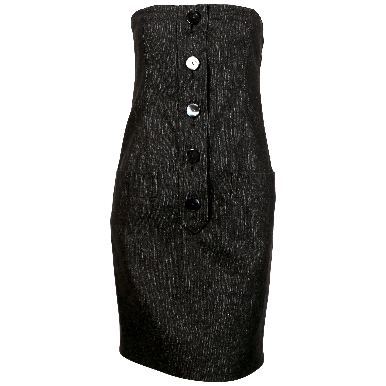 1980's YVES SAINT LAURENT black denim strapless dress with shell buttons