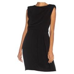 1980S YVES SAINT LAURENT Black Haute Couture Silk Faille Perfect LBD Dress