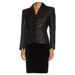 1980S YVES SAINT LAURENT Black Haute Couture Silk & Lurex Matelassé Suit With V