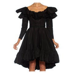 1980S YVES SAINT LAURENT Black Haute Couture Silk Taffeta Ruffled Cocktail Dres
