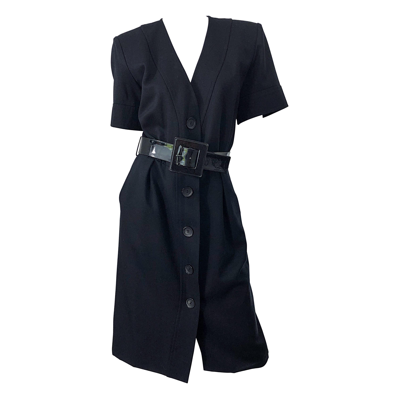 1980s Yves Saint Laurent Black Short Sleeve Large Size Belted Vintage 80s Dress