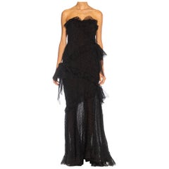 1980S YVES SAINT LAURENT Black Silk Textured Organza Strapless Gown With Chiffo