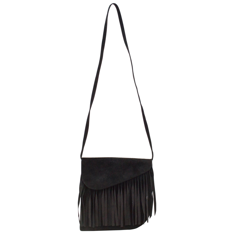 1980s Yves Saint Laurent Black Suede Bag with Fringe