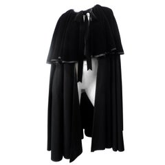 Yves Saint Laurent 1980s Black Wool Cape