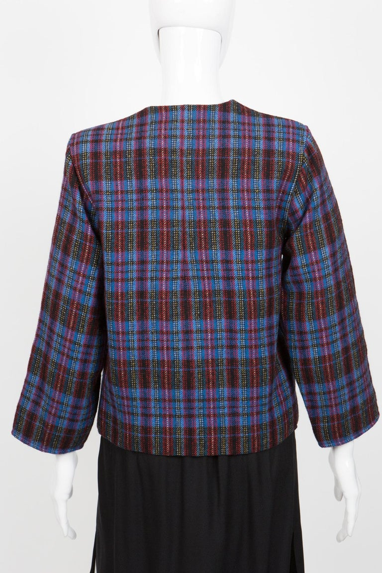 1980s Yves Saint Laurent Blue Check Box Jacket In Excellent Condition For Sale In Paris, FR