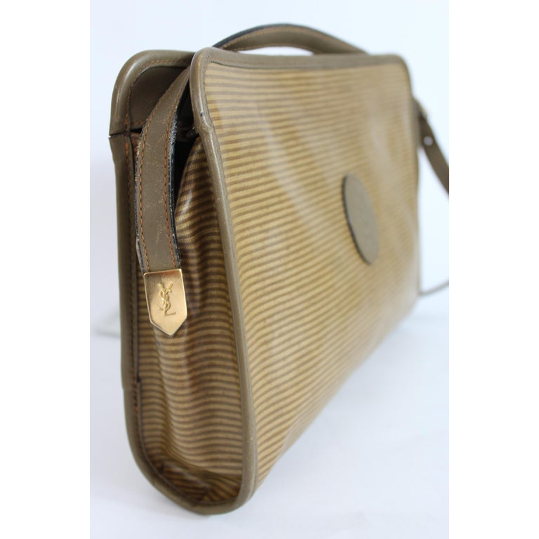 4c00e6342e6 1980s Yves Saint Laurent Brown Canvas and Leather Crossbody Bag For Sale 1