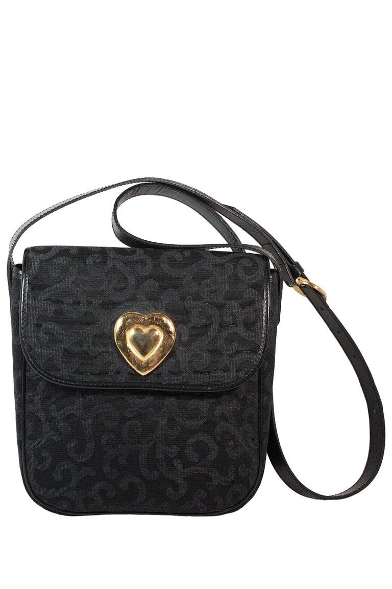 Women's 1980s Yves Saint Laurent Canvas Heart Handbag For Sale