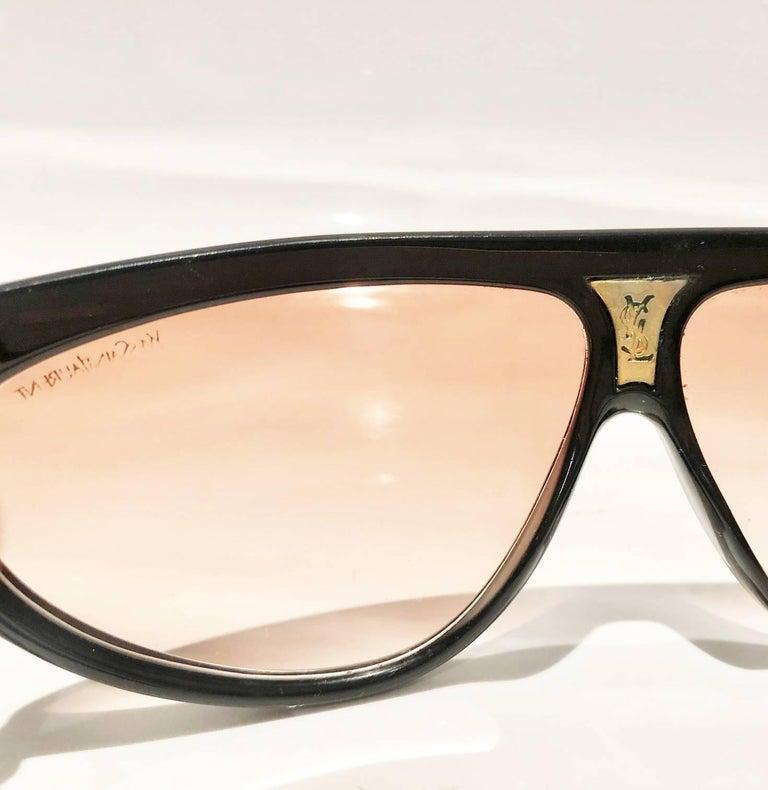 1980s Yves Saint Laurent Champs Elysees Aviator Sunglasses For Sale 3
