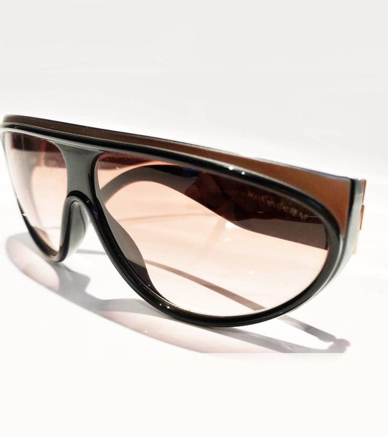 1980s Yves Saint Laurent Champs Elysees Aviator Sunglasses For Sale 4