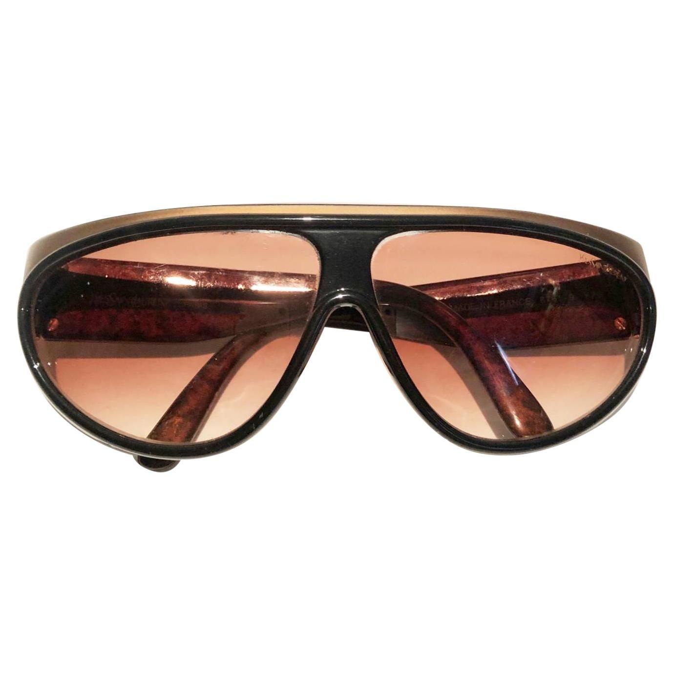 1980s Yves Saint Laurent Champs Elysees Aviator Sunglasses